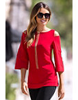 Travel Solid Cold Shoulder Flare-sleeve Top Photo