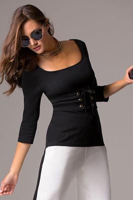 Scoop-neck corset knit top