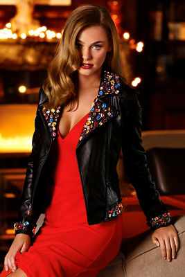 Multicolor jeweled moto jacket