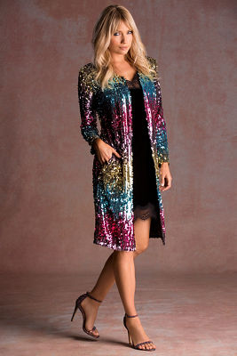 multicolor sequin duster jacket
