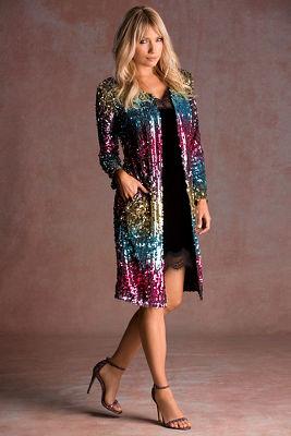 Multicolor sequin duster jacket