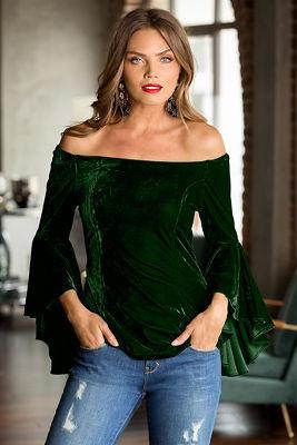 Off-the-shoulder velvet flare-sleeve knit top