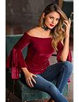 Off-the-shoulder Velvet Flare-sleeve Knit Top Photo