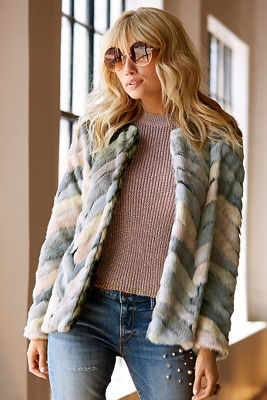 Multicolored faux-fur jacket