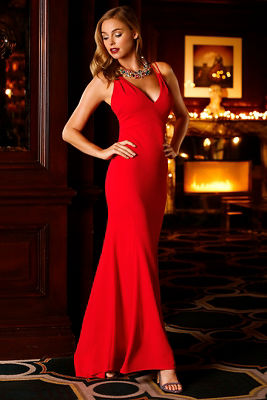Plunge strappy maxi gown
