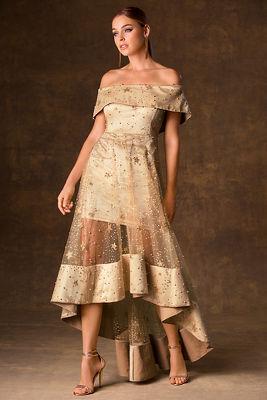 Star embellished off-the-shoulder maxi dress