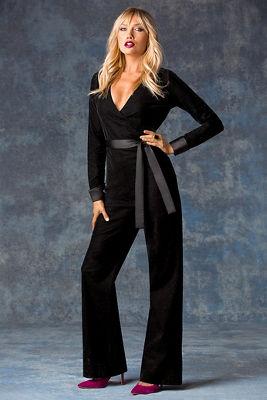 Velvet tuxedo jumpsuit