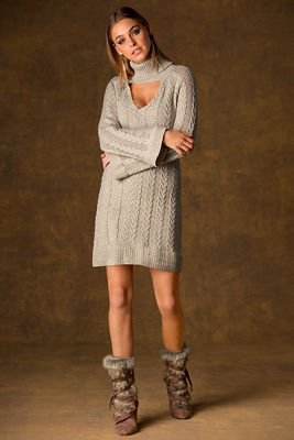 Cable keyhole sweater dress