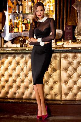 Illusion tuxedo dress