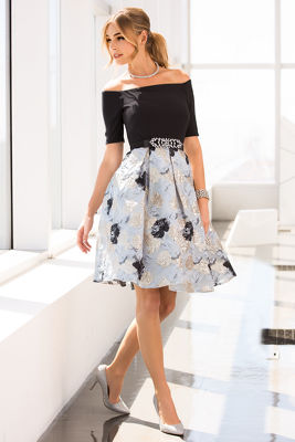 Off-the-shoulder brocade pleated dress