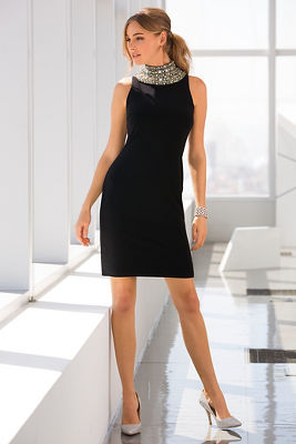 Embellished neck sheath dress