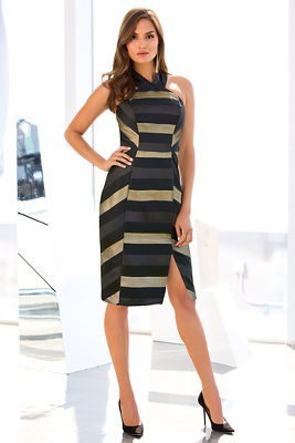 Mitred stripe sheath dress