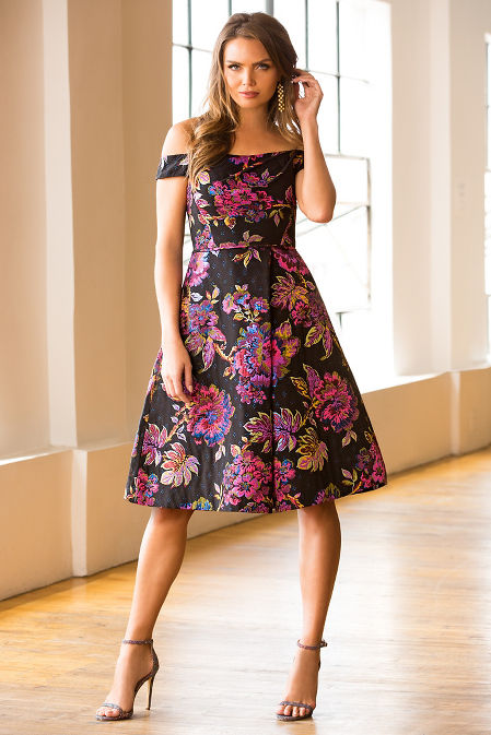 Colorful brocade pleated dress image