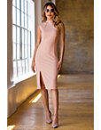High Neck Slit Sheath Dress Photo