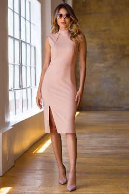 High neck slit sheath dress