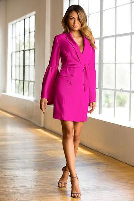 Pleated sleeve suit dress