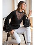 Lace Mock Neck Bell-sleeve Sweater Photo