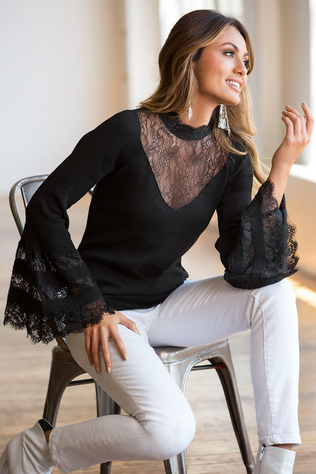 Lace mock neck bell-sleeve sweater image