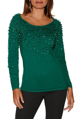 Sequin and pearl neck sweater