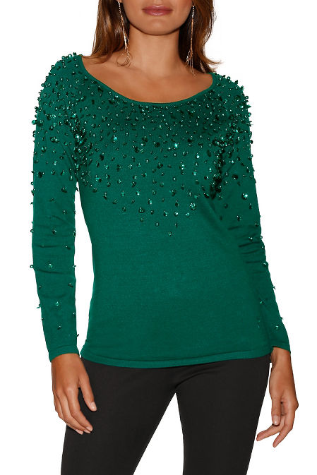Sequin and pearl neck sweater image