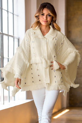 Cable embellished poncho sweater