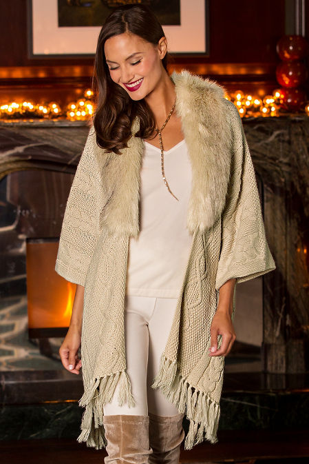 Cable Faux Fur Trim Wrap Sweater Boston Proper
