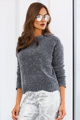 Metallic chenille sweater