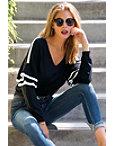Track Stripe Ruffle-sleeve Sweater Photo