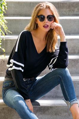 Track stripe ruffle-sleeve sweater