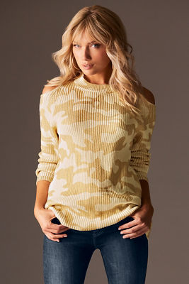 Foiled camo cold-shoulder sweater