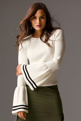 Track stripe bell-sleeve sweater