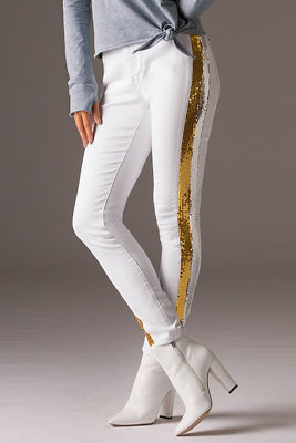 Sequin stripe jean