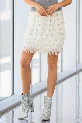 jewel feathered mini skirt