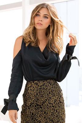 Cowl neck bow-sleeve blouse