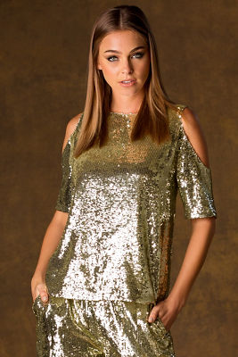 Cold shoulder sequin top