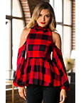 Cold Shoulder Plaid Peplum Blouse Photo