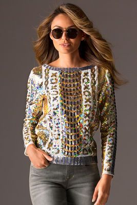 Long sleeve dazzle woven top