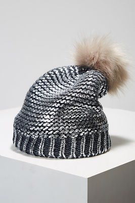 Metallic coated beanie hat