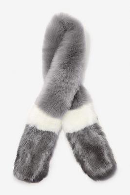 stripe faux-fur scarf