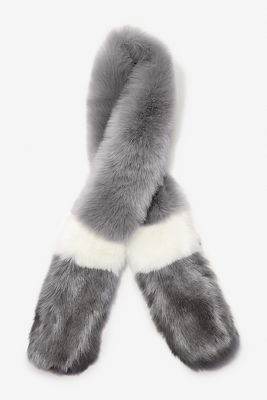 Stripe faux-fur scarf