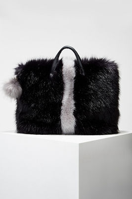 Faux fur stripe tote bag