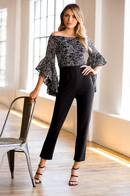 Off-the-shoulder embroidered jumpsuit