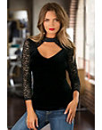 Lace And Velvet Knit Top Photo