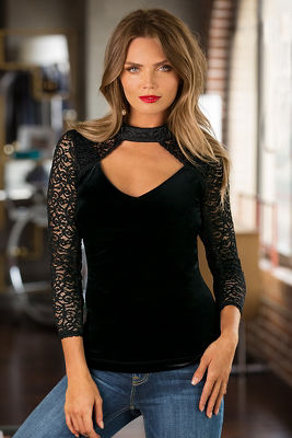 Lace and velvet knit top