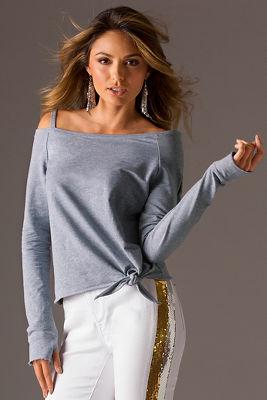 Strap casual tie knit top