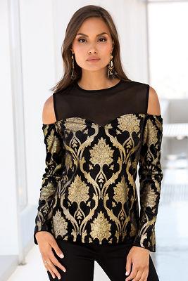 Gold foiled velvet knit top
