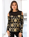 Gold Foiled Velvet Knit Top Photo
