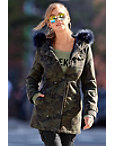 Camo Faux-fur Trimmed Trench Jacket Photo