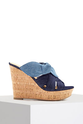 denim bow wedge heel