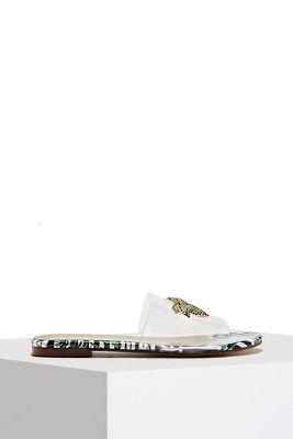 lucite palm print slide sandal